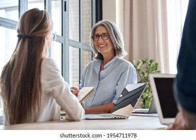 Happy mature middle 60s aged smiling lady boss manager teacher talking to assistant or student meeting in office space. Company team working together with the laptops and assistant writing notes.