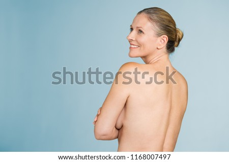 Happy Mature Naked Woman Standing Showing Stockfoto (Jetzt ...