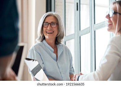 Happy mature old female mentor coach supervisor training young interns at group office meeting professional workshop. Smiling middle aged teacher professor laughing with students at university class - Shutterstock ID 1921566635