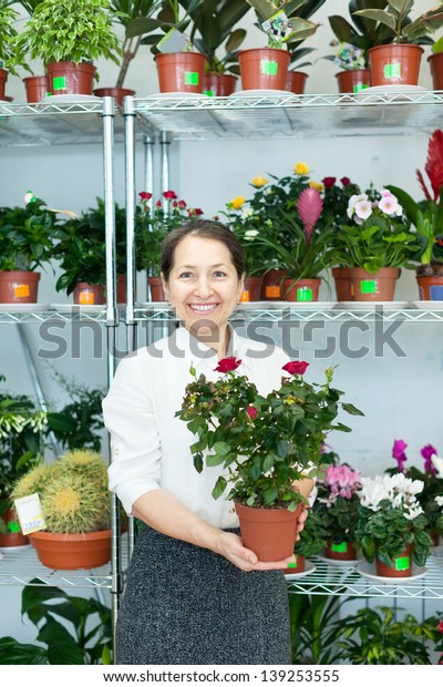 Happy mature woman chooses roses in pot at flower store