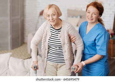 Happy mature woman having a walk after recovery