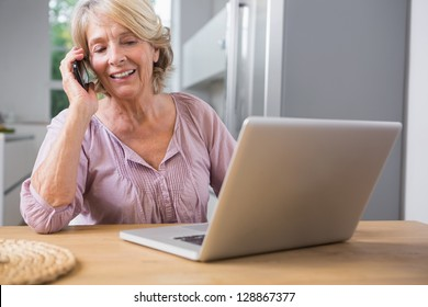 Happy mature woman using her laptop and calling