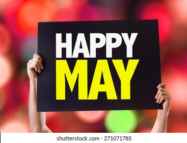 Happy May card with bokeh background