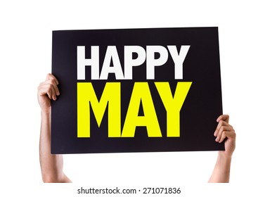 Happy May card isolated on white