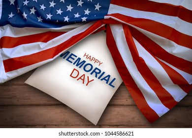 Happy memorial day with american flag on wooden background