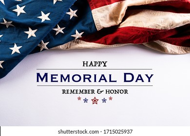 Happy Memorial Day. American flags with the text REMEMBER & HONOR against a white background. May 25.