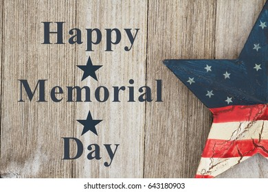 Happy Memorial Day Greeting, USA patriotic old star on a weathered wood background with text Happy Memorial Day