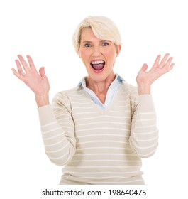 happy mid age woman looking surprised on white background