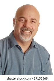 happy middle aged man with bald shaved head on white background
