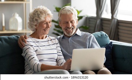 Happy middle aged older retired family couple using computer applications, having fun web surfing internet, shopping online or communicating distantly relaxing together on cozy sofa in living room.
