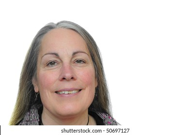 Happy middle aged woman smiling over a white isolated background
