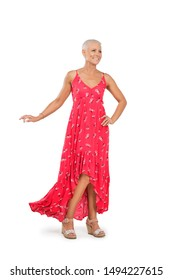 Happy middle-aged woman in sundress isolated on white