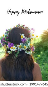 happy Midsummer. girl in flower wreath, rear view. Floral crown, symbol of summer solstice. traditional Slavic ceremony on Midsummer, wiccan Litha sabbath. pagan holiday Ivan Kupala - Shutterstock ID 1991477645