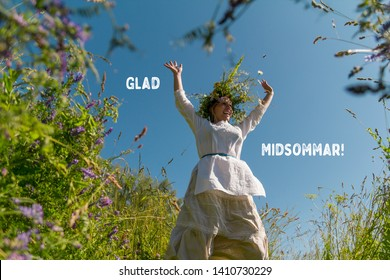 Happy Midsummer traditional Swedish holiday. Card (Kort) Glad Midsommar. Beautiful blond girl in a white suit with a wreath on his head smiling. Calligraphy or lettering inscription on the photo.