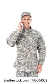 happy military man in talking by phone isolated on white