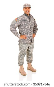 happy military serviceman posing isolated on white