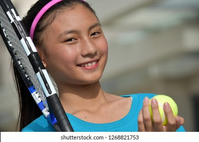 Happy Minority Girl Tennis Player Female Athlete