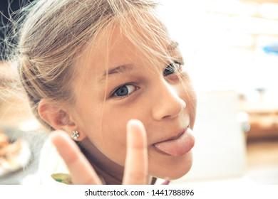 Happy mischievous children having fun carefree childhood lifestyle