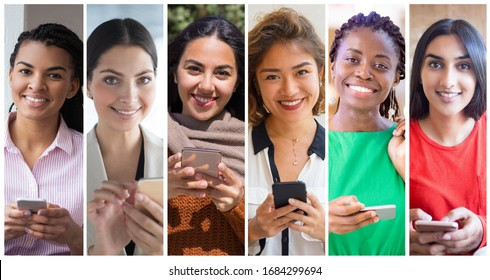 Happy mix raced ladies using smartphone portrait set. Young woman of different races with mobile phone multiple shot collage. Communication concept