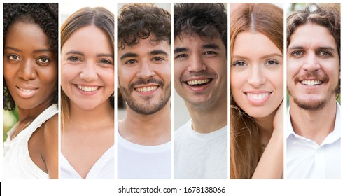 Happy mix raced people in white casual shirts portrait set. Smiling multiracial young men and women multiple shot collage. Positive human emotions concept