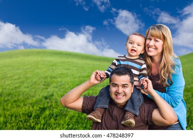 Happy Mixed Race Family In Green Grass Field