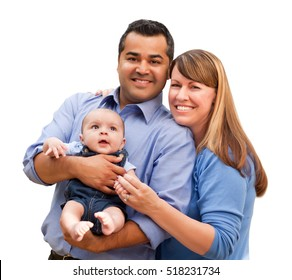 Happy Mixed Race Family Posing for A Portrait Isolated on a White Background.