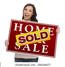 Happy Mixed Race Female with Sold Home For Sale Real Estate Sign Isolated on White.