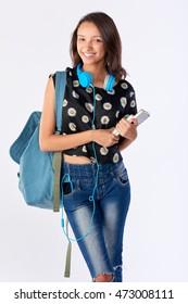 Happy mixed race hispanic asian woman student going back to school university