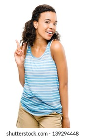 Happy mixed race woman peace sign isolated on white background