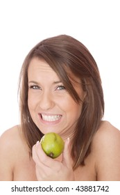 happy model eating Lime  over white background
