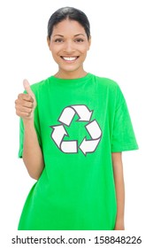 Happy model wearing recycling tshirt giving thumb up on white background