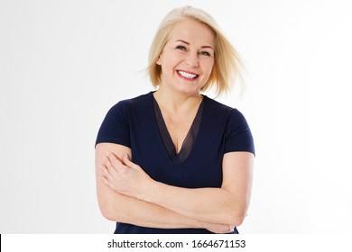 Happy moderne Blondine mittleren Alters - Lebensstil einzeln auf Weiß