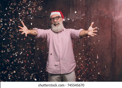 happy modern santa wants to hug you christmas and new year party with santa in - All I Want For Christmas Is You Original Artist