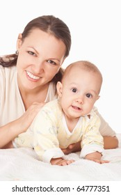 happy mom and baby on a white background