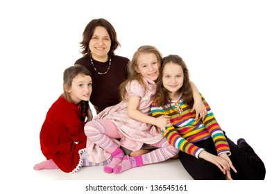 happy mom with favorite children