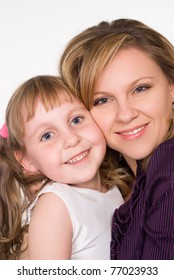 happy mom with her daughter on a white background