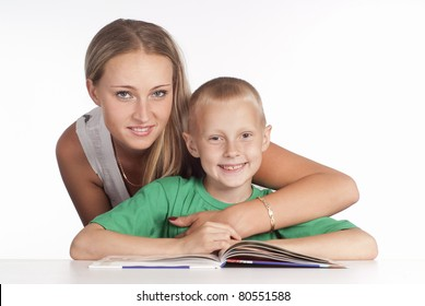 happy mom and her son reading on white