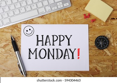 """""""happy monday"""" Word on Office Workplace"""