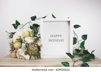 Happy Monday word with White frame mockup