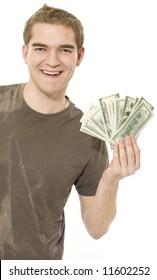Happy with money.