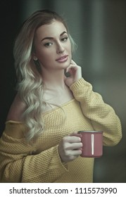 Happy morning. Female portrait, young adult woman with cup on coffee