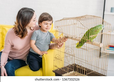 happy mother with adorable son looking at green parrot in bird cage at home