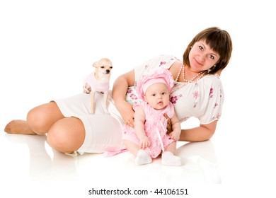 Happy mother with baby and dog isolated on white