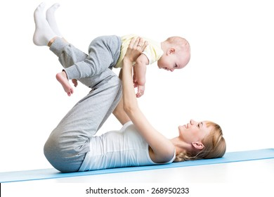 happy mother and baby making healthy gymnastics