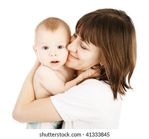 happy mother with baby over white background