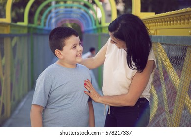 Happy mother and boy portrait
