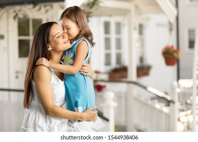 Happy mother and child on blurred background