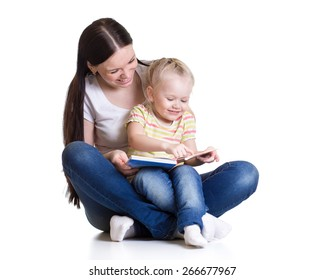 happy mother and child reading a book isolated