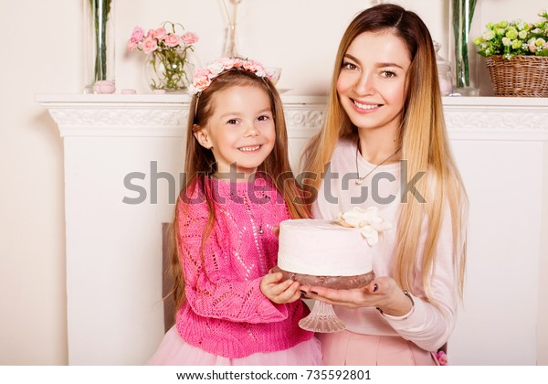 Happy Mother Daughter Birthday Cake Pink Stock Photo Edit Now