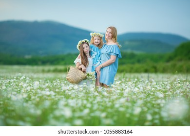 Happy mother and daughter child together with yellow dandelion flowers in summer day